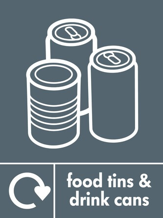 Food tins and drink can recycling icon