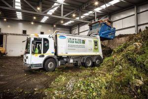 Waste Lorry disposing of organic waste